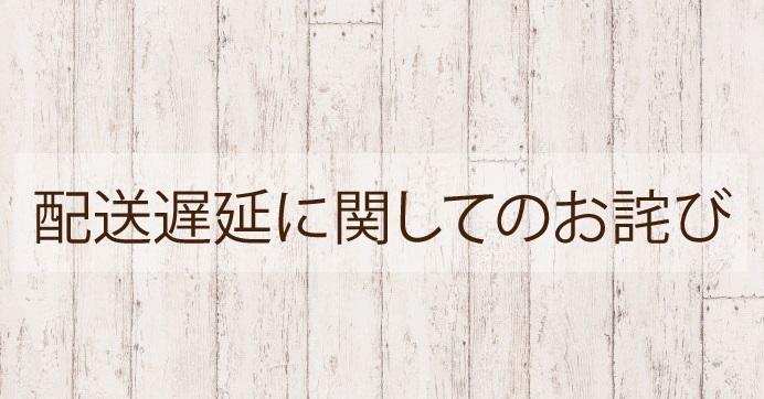 【お詫び】メーカー輸送遅延に伴う発送遅延について(2/27・3/1・3/3発送分の一部)